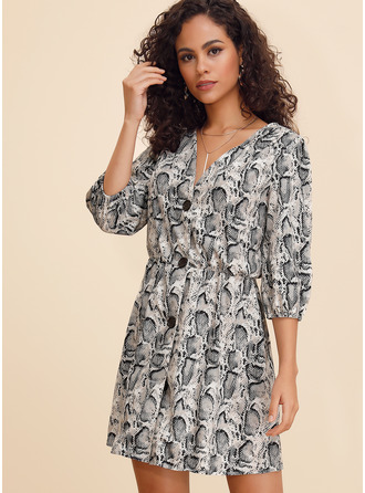 Print A-line Long Sleeves Mini Casual Dresses