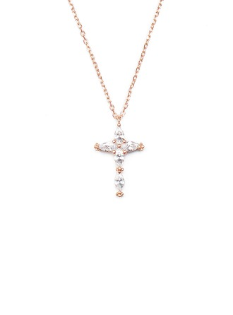18k Rose Gold Plated Silver Religious Cross Pendant Necklace