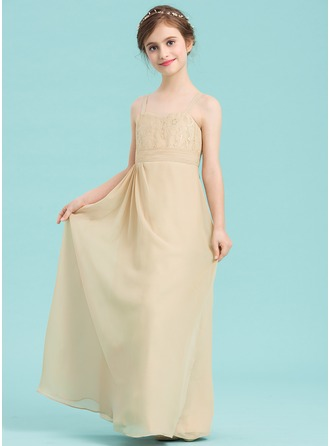 A-Line/Princess Sweetheart Floor-Length Chiffon Junior Bridesmaid Dress With Sequins