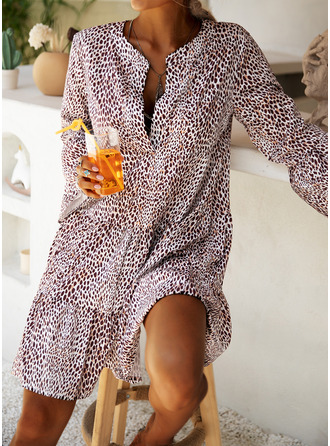 Leopard Shift Flare Sleeve Long Sleeves Midi Casual Dresses