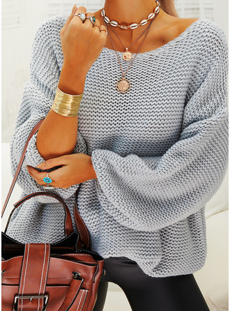 Off-the-shoulder Casual Solide Truien