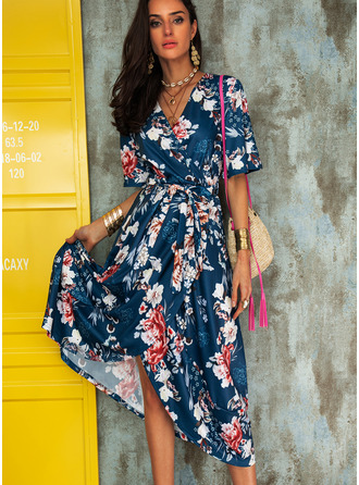 Floral Print A-line Flare Sleeve Short Sleeves Asymmetrical Casual Elegant Skater Wrap Dresses
