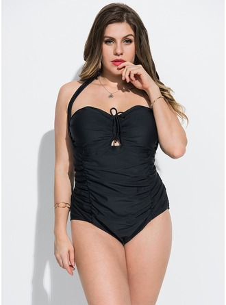 Elegant Solid Color Polyester Spandex One-piece Swimsuit