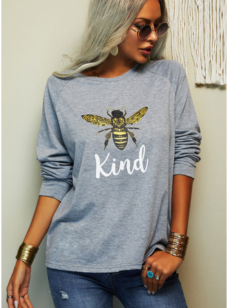 Animal Print Round Neck Long Sleeves Casual T-shirt