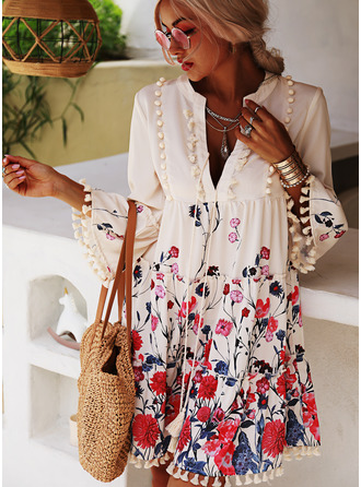 Floral Print Shift 3/4 Sleeves Flare Sleeve Mini Casual Tunic Dresses