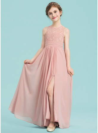 A-Line/Princess Scoop Neck Floor-Length Chiffon Junior Bridesmaid Dress With Ruffle Split Front