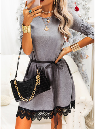 Lace Solid A-line Long Sleeves Mini Casual Skater Dresses