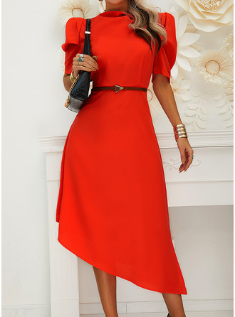 Solid A-line Puff Sleeves Short Sleeves Midi Elegant Skater Dresses