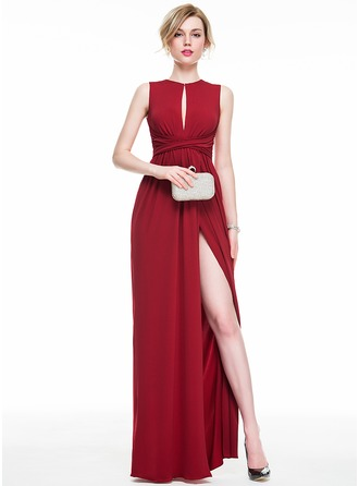 Sheath/Column Scoop Neck Floor-Length Jersey Prom Dress With Ruffle Bow(s) Split Front