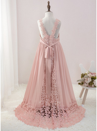 A-Line Floor-length Flower Girl Dress - Chiffon/Lace Sleeveless V-neck With Beading