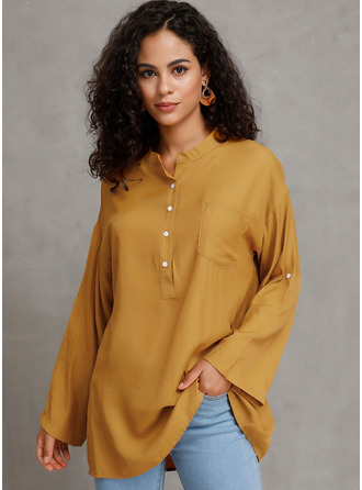 твердый Long Sleeves Polyester V Neck Блузы
