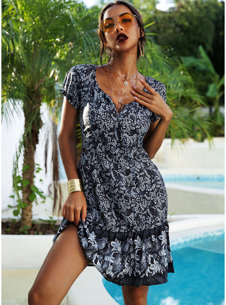 Print A-line Short Sleeves Midi Boho Casual Vacation Skater Dresses