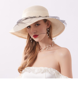 Ladies' Classic/Elegant Tulle With Tulle Beach/Sun Hats