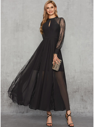 A-Line Scoop Neck Ankle-Length Chiffon Lace Evening Dress With Lace