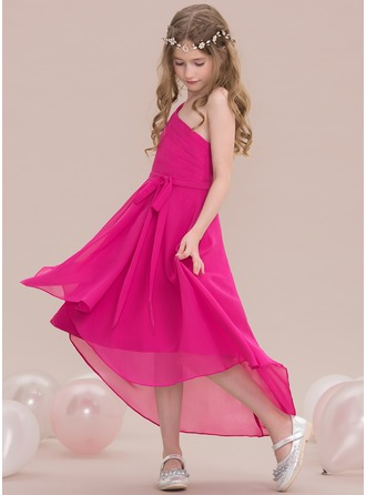 A-Line/Princess One-Shoulder Asymmetrical Chiffon Junior Bridesmaid Dress With Ruffle