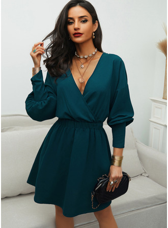 Solid A-line Lantern Sleeve Long Sleeves Mini Elegant Skater Dresses