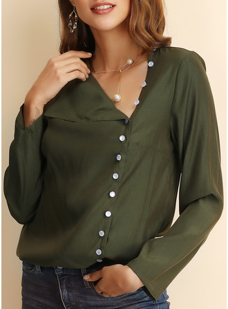 Solid Lapel Long Sleeves Casual