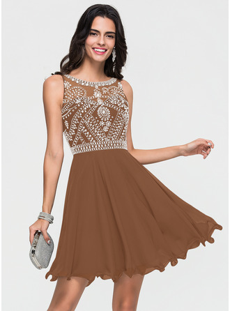 A-Line Scoop Neck Short/Mini Chiffon Homecoming Dress With Beading