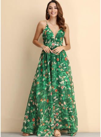 Maxi V neck Viscose Print Sleeveless Fashion Dresses