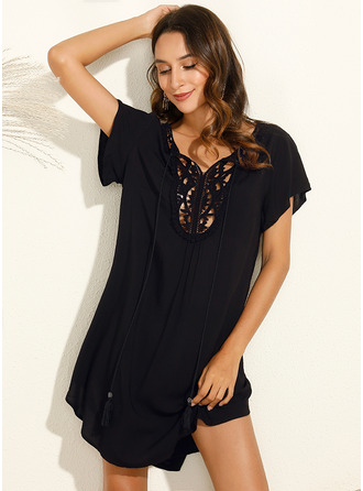 Lace Solid Shift Short Sleeves Mini Casual Vacation Dresses