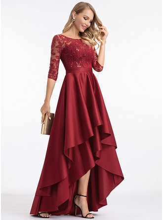 Round Neck Burgundy Lace Satin Dresses