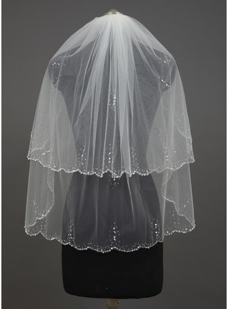 Two-tier Scalloped Edge Fingertip Bridal Veils With Beading/Sequin