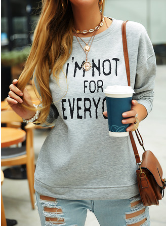 Print Round Neck Long Sleeves Sweatshirt (1001255177)