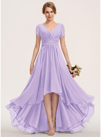 A-Line V-neck Asymmetrical Chiffon Lace Bridesmaid Dress With Ruffle