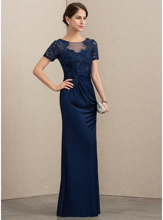 Sheath/Column Scoop Neck Floor-Length Lace Jersey Mother of the Bride Dress With Beading Sequins