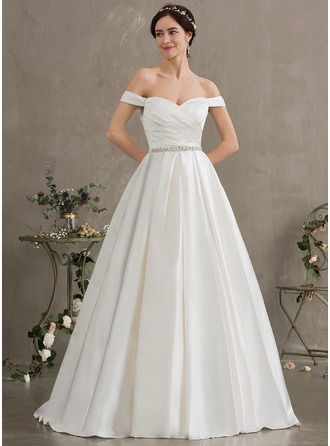 26115e0c0d1a8 Ball-Gown/Princess Off-the-Shoulder Court Train Satin Wedding Dress With