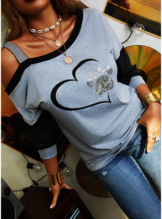 Print Sequins Cold Shoulder Long Sleeves Casual Blouses (1003254406)