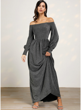 Sequins A-line Lantern Sleeve Long Sleeves Maxi Party Elegant Skater Dresses