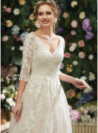 A-Line V-neck Court Train Wedding Dress With Sequins