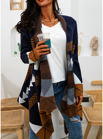 Casual Long Print Chunky knit Sweaters