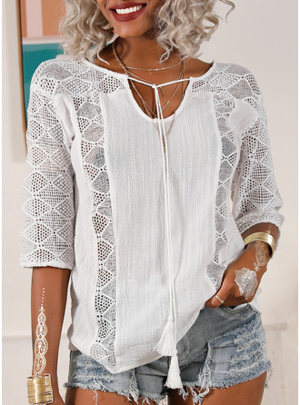 Lace Solid V-Neck 3/4 Sleeves Casual