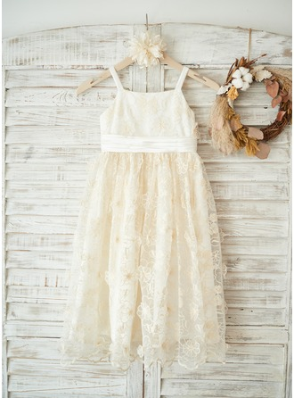 A-Line/Princess Knee-length Flower Girl Dress - Tulle/Lace Sleeveless Straps With Bow(s)/Pleated