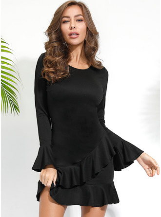 Above Knee Round Neck Polyester Ruffles/Solid Long Sleeves/Flare Sleeves Fashion Dresses