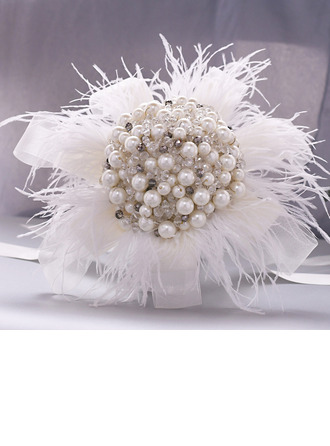 Refined Round Imitation Pearl Bridal Bouquets (Sold in a single piece) - Bridal Bouquets