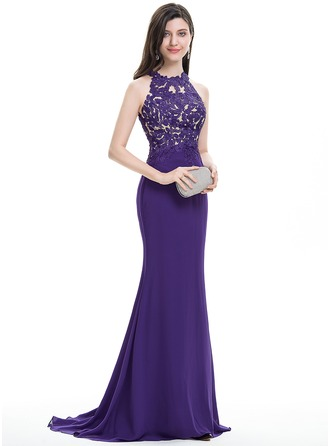 Trumpet/Mermaid Scoop Neck Sweep Train Chiffon Prom Dresses