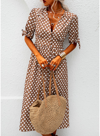PolkaDot A-line Short Sleeves Midi Casual Vacation Skater Dresses