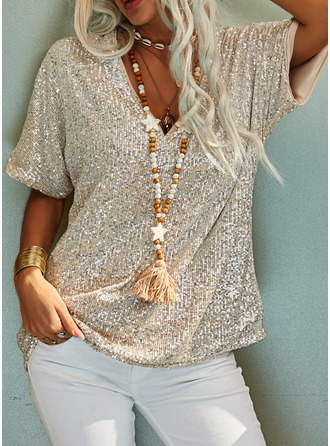 Sequins Solid V-Neck Short Sleeves Casual Blouses
