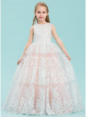 Ball Gown Floor-length Flower Girl Dress - Tulle/Lace Sleeveless Scoop Neck