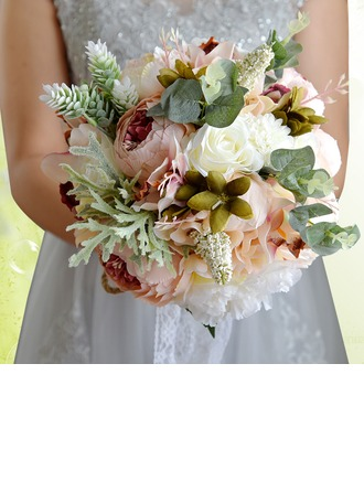 Round Satin/Silk Bridal Bouquets -