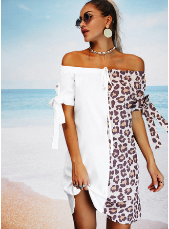 Leopard Color Block Shift 1/2 Sleeves Mini Casual Vacation Tunic Dresses