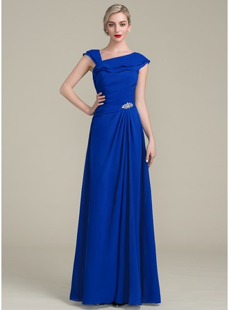 A-Line/Princess Floor-Length Chiffon Mother of the Bride Dress With Beading Sequins Cascading Ruffles