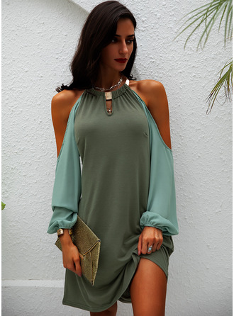 Solid Shift Cold Shoulder Sleeve Long Sleeves Mini Casual Tunic Dresses