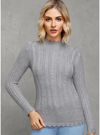 Casual Solid Ribbed Sweaters