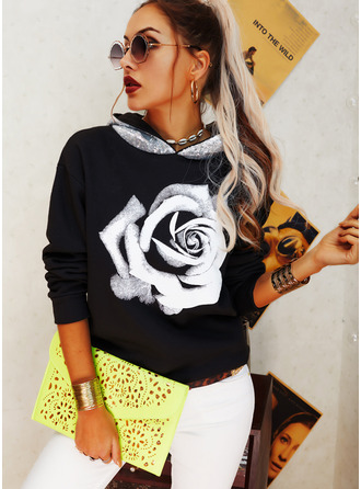 Floral Print Sequins Long Sleeves Hoodie