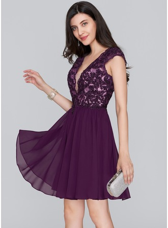 A-Line V-neck Short/Mini Chiffon Homecoming Dress