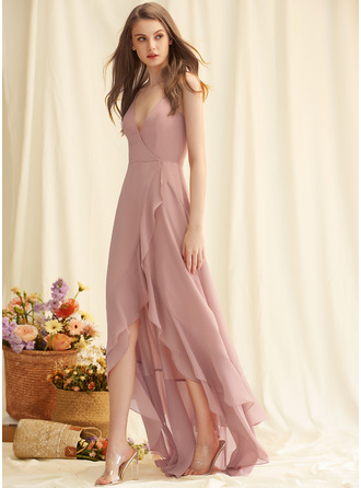 A-line V-Neck Sleeveless Asymmetrical Back Details Romantic Sexy Dresses
